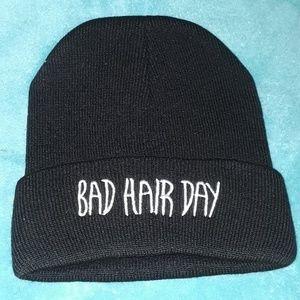 """BAD Hair Day"" black beanie hat  /New"